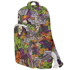 Halloween Doodle Vector Seamless Pattern Double Compartment Backpack by Sobalvarro