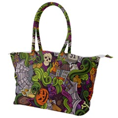 Halloween Doodle Vector Seamless Pattern Canvas Shoulder Bag by Sobalvarro