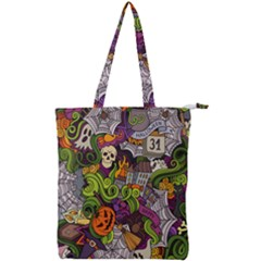 Halloween Doodle Vector Seamless Pattern Double Zip Up Tote Bag by Sobalvarro