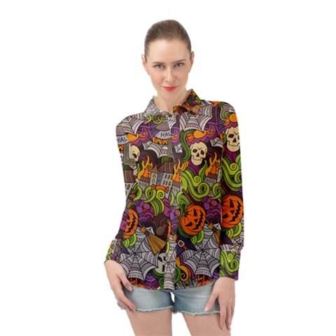 Halloween Doodle Vector Seamless Pattern Long Sleeve Chiffon Shirt by Sobalvarro