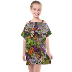 Halloween Doodle Vector Seamless Pattern Kids  One Piece Chiffon Dress by Sobalvarro