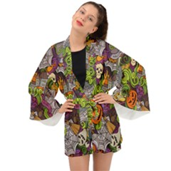 Halloween Doodle Vector Seamless Pattern Long Sleeve Kimono by Sobalvarro