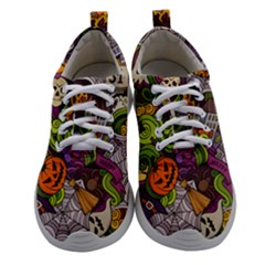 Halloween Doodle Vector Seamless Pattern Women Athletic Shoes by Sobalvarro
