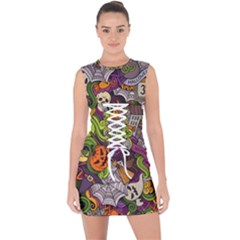 Halloween Doodle Vector Seamless Pattern Lace Up Front Bodycon Dress by Sobalvarro