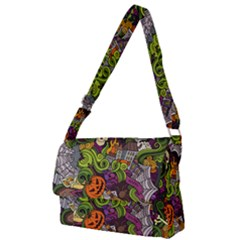 Halloween Doodle Vector Seamless Pattern Full Print Messenger Bag (l)