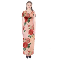 Pattern Flower Paper Short Sleeve Maxi Dress