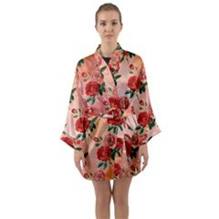 Pattern Flower Paper Long Sleeve Satin Kimono