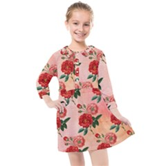 Pattern Flower Paper Kids  Quarter Sleeve Shirt Dress