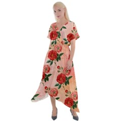 Pattern Flower Paper Cross Front Sharkbite Hem Maxi Dress