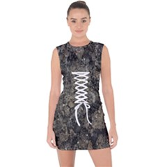 Grunge Organic Texture Print Lace Up Front Bodycon Dress