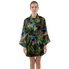 Peacock Feathers Color Plumage Long Sleeve Satin Kimono