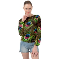 Peacock Feathers Color Plumage Banded Bottom Chiffon Top