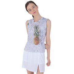 Summer Pineapples On White Marble Women s Sleeveless Mesh Sports Top by goljakoff