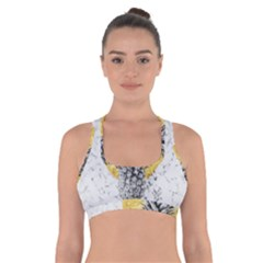 Summer Gold Pineapple On White Marble Cross Back Sports Bra by goljakoff