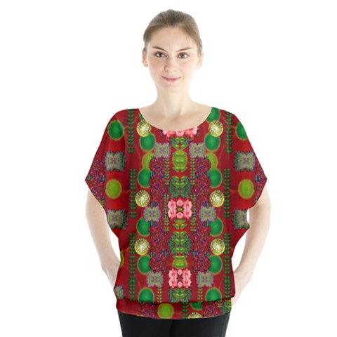 In Time For The Season Of Christmas An Jule Batwing Chiffon Blouse by pepitasart
