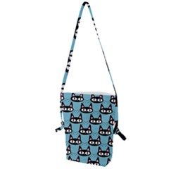 Cute Black Cat Pattern Folding Shoulder Bag