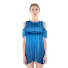Abstract Rain Space Shoulder Cutout One Piece Dress