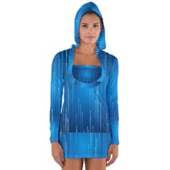 Abstract Rain Space Long Sleeve Hooded T Shirt
