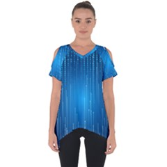 Abstract Rain Space Cut Out Side Drop Tee