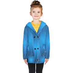 Abstract Rain Space Kids  Double Breasted Button Coat