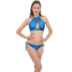 Abstract Rain Space Cross Front Halter Bikini Set