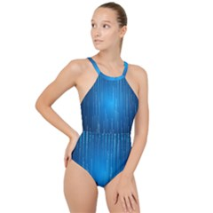 Abstract Rain Space High Neck One Piece Swimsuit