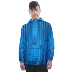 Abstract Rain Space Men s Front Pocket Pullover Windbreaker