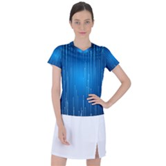 Abstract Rain Space Women s Mesh Sports Top