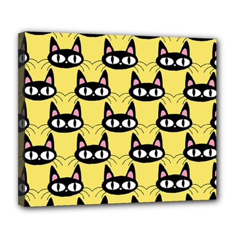 Cute Black Cat Pattern Deluxe Canvas 24  X 20  (stretched)