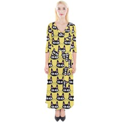 Cute Black Cat Pattern Quarter Sleeve Wrap Maxi Dress