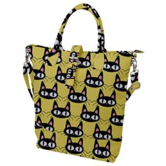 Cute Black Cat Pattern Buckle Top Tote Bag