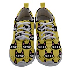 Cute Black Cat Pattern Women Athletic Shoes by Valentinaart