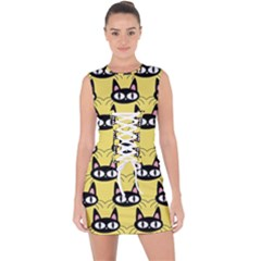 Cute Black Cat Pattern Lace Up Front Bodycon Dress