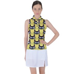Cute Black Cat Pattern Women's Sleeveless Polo