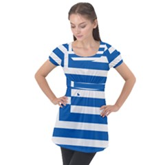 Greece Flag Greek Flag Puff Sleeve Tunic Top by FlagGallery
