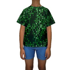 Abstract Plaid Green Kids  Short Sleeve Swimwear by HermanTelo
