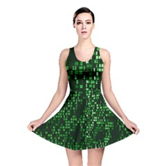 Abstract Plaid Green Reversible Skater Dress