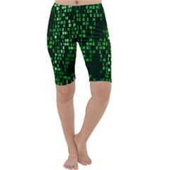 Abstract Plaid Green Cropped Leggings