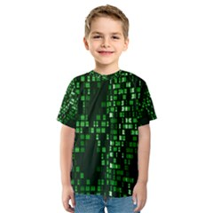 Abstract Plaid Green Kids  Sport Mesh Tee