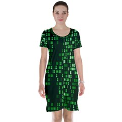 Abstract Plaid Green Short Sleeve Nightdress