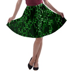 Abstract Plaid Green A-line Skater Skirt
