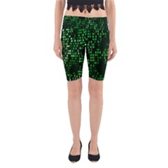 Abstract Plaid Green Yoga Cropped Leggings