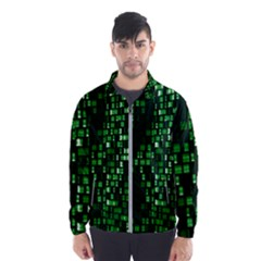 Abstract Plaid Green Men s Windbreaker