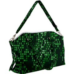 Abstract Plaid Green Canvas Crossbody Bag