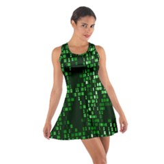 Abstract Plaid Green Cotton Racerback Dress