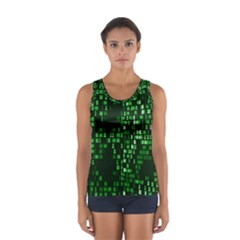 Abstract Plaid Green Sport Tank Top