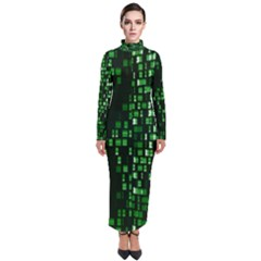 Abstract Plaid Green Turtleneck Maxi Dress