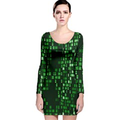 Abstract Plaid Green Long Sleeve Velvet Bodycon Dress