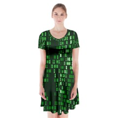Abstract Plaid Green Short Sleeve V Neck Flare Dress