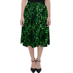Abstract Plaid Green Classic Midi Skirt